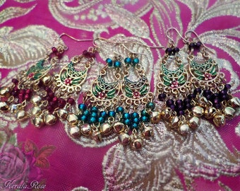 """FREE SHIPPING!- Bright Gold Floral Earrings, Floral Hand-Painted, Small 2 1/2"""" Belly Dancer Gypsy, Purple, Emerald Green, Red, Color Choices"""