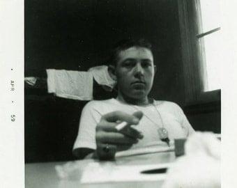 "Vintage Photo ""The Smoking Soldier"" Snapshot Antique Photo Old Black & White Photograph Found Paper Ephemera Vernacular - 196"