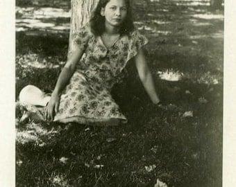 "Vintage Photo ""She Sits Waiting for Henry"" Snapshot Antique Photo Old Black & White Photograph Found Paper Ephemera Vernacular - 104"