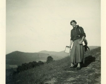 "Vintage Photo ""She Travels the Hills with a Smile"" Snapshot Antique Photo Old Black & White Photograph Found Paper Ephemera Vernacular - 73"