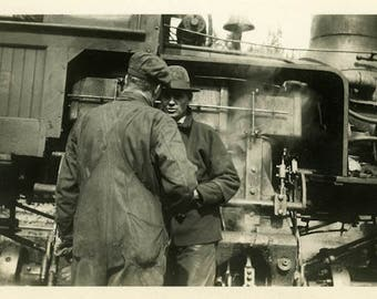 "Vintage Photo ""The Train Depot Discussion"" Snapshot Antique Photo Old Black & White Photograph Found Paper Ephemera Vernacular - 161"
