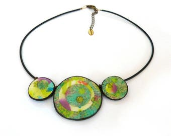 Green Necklace, unique cercle beads, wearable art, artisan boho statement necklace, handmade polymer clay unique design, gift idea for women