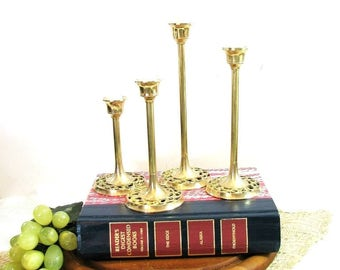Modern Brass Candlesticks, Graduated Heights, Pierced Base, Mid-Century, Matched Set of 4 ... Vintage Candle Holders, Modernist, Minimalist