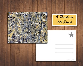 "Fine Art Postcards, Abstract Postcards, 5.5"" x 4.25"", Original Art Postcard, Gift For Him"