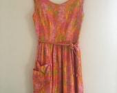1960's Day Dress Floral Full Skirt Summer Dress - Size Medium