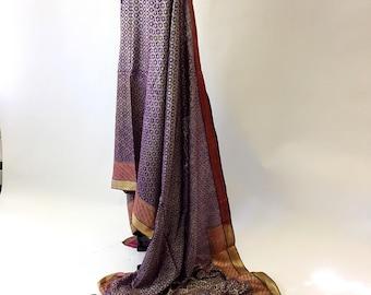 Antique Purple and Gold Thread Silk Sari Fabric
