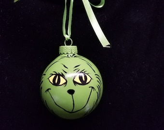 Hand Painted Ornament, Grinch