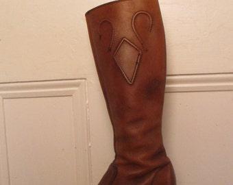 70's Vintage Distressed Brown Leather Platform Boots 6.5