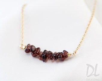 Rough Garnet Bar Necklace - January Birthstone Necklace - Raw Stone Necklace - Gemstone Bar Necklaces - Layering Necklace - Minimal