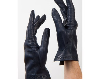 Vintage leather gloves / Midnight blue wrist length perforated gloves S