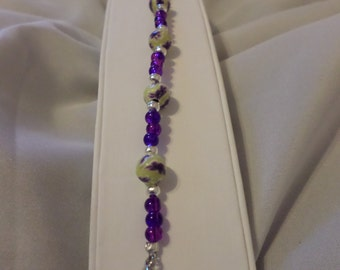 yellow and purple clay bracelet