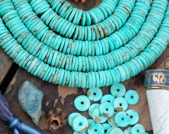 Minty Chocolate Brown Speckled Discs : Large Hole Blue Bone Heishi Spacer Beads, 10.5x2mm, Boho Jewelry Making Supply, Beachy Bohemian, 100+