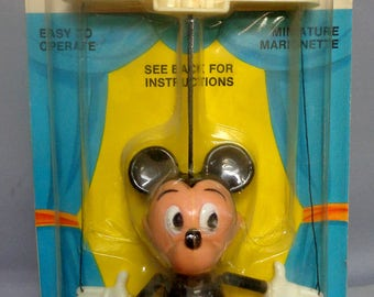 DISNEY, Mickey Mouse PEPPY PUPPET, 1971, String Powered, Vintage Childs Toy, Walt Disney Productions,  Kohner Bros, Push & Pull