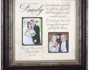 Personalized Gift for Parents, Wedding Photo Frame, Family Quote