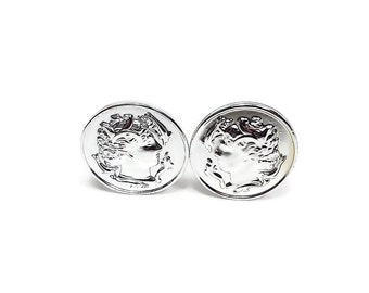 Greek Head Cameo Vintage Clip On Earrings Sarah Coventry Silver Tone Mid Century Rubber Clip Pads