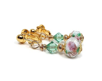 Pink and Green Clip on Earrings Rose Flower Gold Plated Screw Back Cottage Chic Vintage Style Crystal Beaded