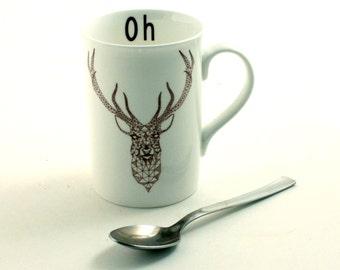 Oh Dear Geometrical Deer Animal Head Portrait Mug Fine Bone China Tea or Coffee  Forest Christmas Valentine Fun Funny Birthday Present Gift