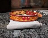 Dog collar , leather dog collar , custom tooled hearts collar , floating hearts collar , 13 inch collar, Chihuahua collar ,