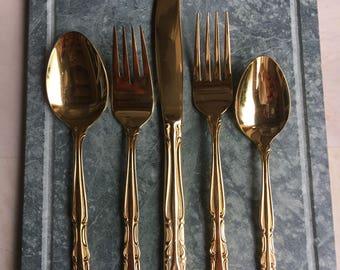 Vintage Rogers Gold Electroplate Flatware Setting Salad & Dinner Fork / Soup Dessert Spoon / Dinner Knife - #D2244