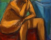 Original Oil Painting-Male Nude-Impressionism-Goldfish-Figure Drawing-Nude-Bright Colors-Figurative-Nude Painting-Fine Art Nude-Expressive
