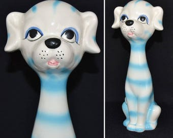 Vintage 1960s Blue and White Striped Dog Figurine Made in Japan