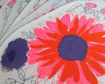 Mod Vintage Vera Neumann Placemats Set of 6 Purple Pink Flowers