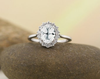 8x6mm oval Natural White Topaz  and Diamond Halo Engagement  Ring and Band Set in  14K White Gold ST82717
