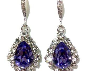 Purple Bridal Earrings, Drop Bridesmaid Earrings, Teardrop Earrings, Violet Earrings, Swarovski Crystal Bridesmaid Jewelry Gift, BIJOUX