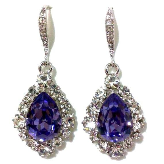 purple bridal earrings drop bridesmaid earrings teardrop