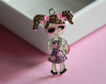 Brunette Girl w/ Backpack and Sunglasses Rhinestone Pendant Back to School Necklace Key Chain Zipper Pull Jewelry Purple Dress & Pink Bows