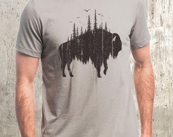 Buffalo and Forest Illustration Men's T-Shirt - Available in S, M, L, XL and 2XL - Men's Screen Printed T-Shirt