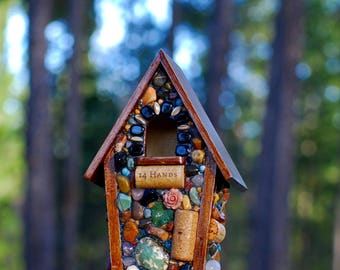 Stone Birdhouse, garden decor, small birds, mosaic, Nature lover, featuring agates,river rocks and stones, outdoor bird, rustic cabin decor