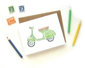 Green Vespa Scooter Greeting Card | Handpainted Pistachio Green Scooter Small Greeting Card Kraft Envelope
