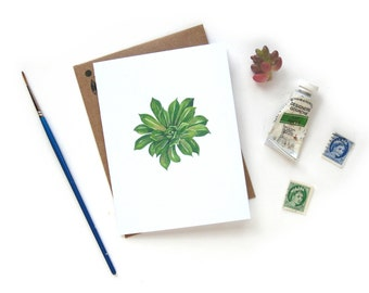 Succulent 2 Watercolor Greeting Card | Handpainted Houseplant Illustration Small Greeting Card Kraft Envelope