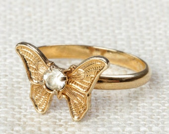 Vintage Butterfly Ring Clear Rhinestone Small Adjustable XS or Child's Size Vintage Ring Gold Butterfly Adjustable 16R