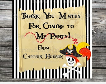 Pirate Sticker, Pirate Favor Tag, Thank You Tag, Gift Tag, Baby Shower, Birthday, Set of 12, Personalized, Pirate Birthday Party, Skulls