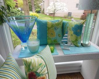 Outdoor Flower Pillow - Teal Aqua Pillow - Green Pillow - Ikat Spot Pillow - Patio Pillow - Summer Pillow - Porch Pillow - Outdoor Pillow
