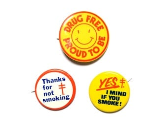 vintage pin collection pinkback button badge No Smoking Proud To Be Drug Free straight edge sober 70s 80s vintage Lung Association