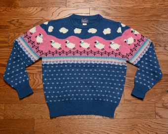 vintage 80s sheep sweater 1980 Woolrich Woman fair isle sweater pink blue purple 100% wool sweater M/L