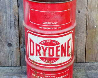 Vintage Drydene Oil Drum 120 LB 16 Gallon Metal Can Gear Oil Lubricant Red White Industrial Petroleum Maryland Pennsylvania Florida 1980's