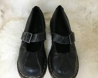 Doc Martens Black Mary Janes US 10 UK 8 90s Vintage Ankle Strap Flatform Chunky  Heel