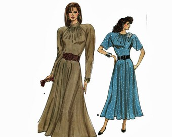 Very Easy Dress Fit and Flared Sizes 12 14 16 Bust 34 36 38 Uncut 80s Sewing Pattern 1980s Very Easy Very Vogue 9960