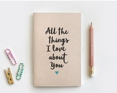 CYBER MONDAY SALE Stocking Stuffer Reasons I Love You Notebook & Pencil - Recycled Journal - All the Things I Love About You - Reasons Why I