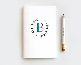 Unique Bridesmaid Gifts - Monogram Journal & Pencil Set, Recycled Notebooks - Hand Drawn Leaves, Choose Your Letter and Color