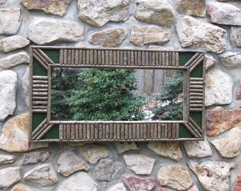 Twig Frame in Pine Green Crackle Finish with Diagonal Corners