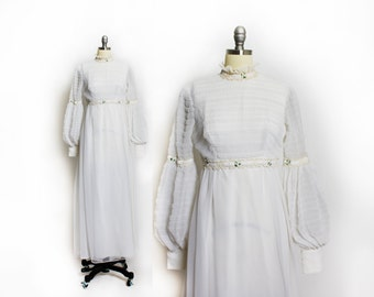 Vintage 60s Wedding Dress - White Smocked Chiffon Poet Sleeve Gown - Extra Small