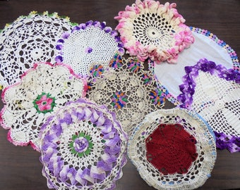 Vintage Crochet Doilies Multi Color Floral Cottage / Shabby Chic Antique Lot of 9