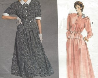 1980s Albert Nipon Womens Peplum Top and Flared Skirt Ankle Length Vogue Sewing Pattern 1861 Size 14 Bust 36 UnCut Vogue American Designer