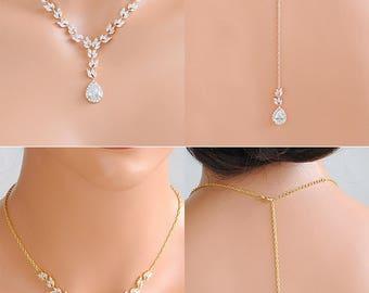 Backdrop Bridal Necklace, Rose Gold Wedding Back Necklace, Marquise Crystal Back Drop Necklace, Leaf Necklace,Bridal Wedding Jewelry, CELINE