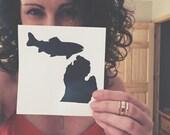 Michigan Decal, Michigan Sticker, Michigan Fishing, Michigan Sticker, Great Lakes Fishing, Upper Peninsula Decal, Trout Sticker, Michigander